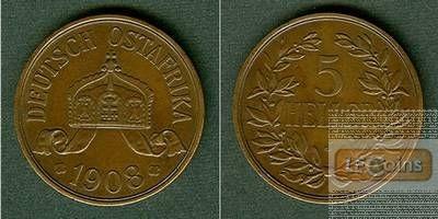 Deutsch Ostafrika 5 Heller 1908 J  f.vz  selten