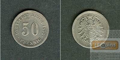 DEUTSCHES REICH 50 Pfennig 1876 B (J.7)  ss+
