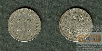 DEUTSCHES REICH 10 Pfennig 1901 J  f.ss