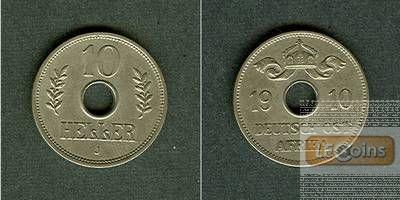 Deutsch Ostafrika 10 Heller 1910 J  vz