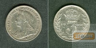 Großbritannien Three Pence 1899  ss+