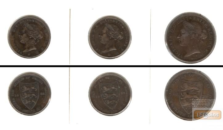 Lot:  GB JERSEY 3x Münzen  1/24 + 1/12 Shilling  [1877-1894]