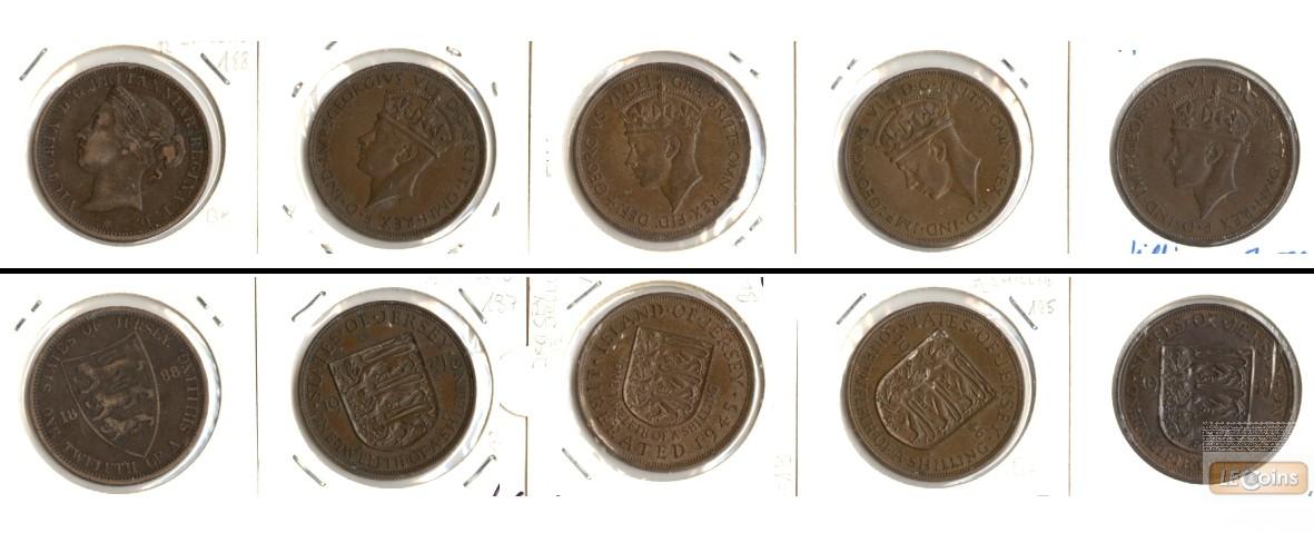 Lot:  GB JERSEY 5x Münzen  1/12 Shilling  [1888-1947]