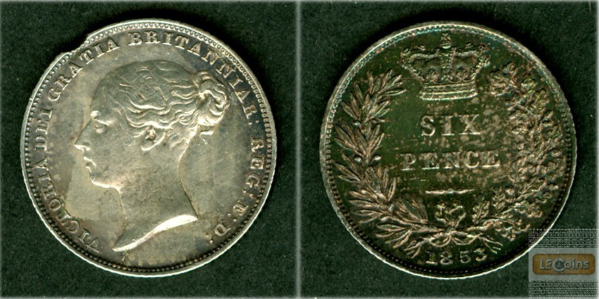 Großbritannien / Great Britain  Six Pence 1853  ss-vz