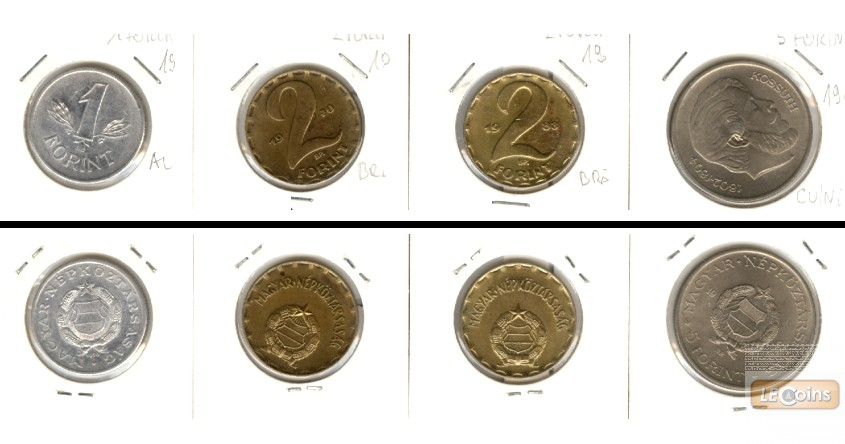 Lot:  UNGARN  4x 1 + 2 + 5 Forint  [1967-1983]