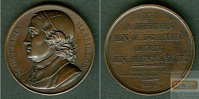 Medaille FRANKREICH 1819 J.B. Massillon  BRONZE  vz-stgl.