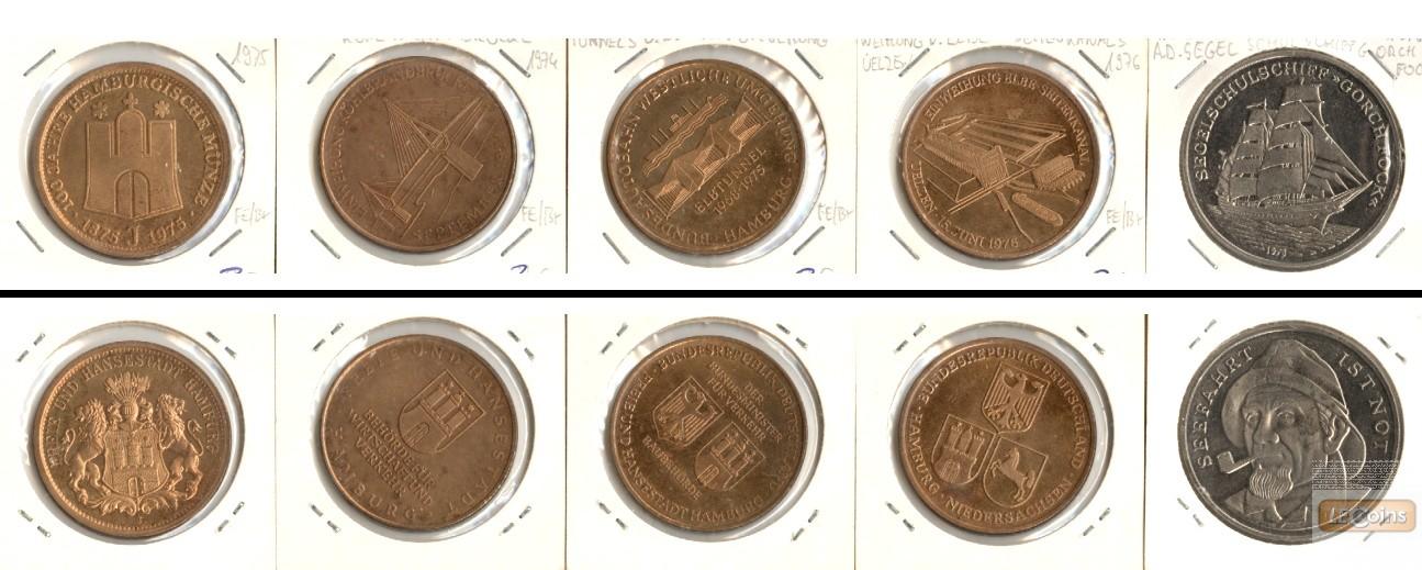 Lot:  HAMBURG 5x Medaille Transport, Verkehr, etc.  [1974-1976]