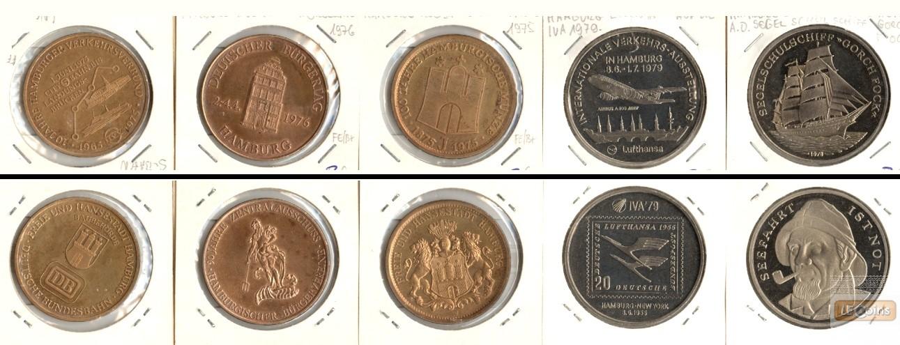 Lot:  HAMBURG 5x Medaille Transport, Verkehr, etc.  [1975-1979]