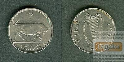 IRLAND 1 Shilling 1955  vz-stgl.  Selten