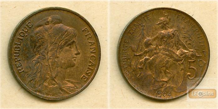 FRANKREICH 5 Centimes 1904  vz-st