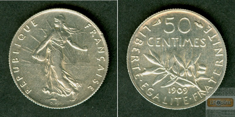 FRANKREICH 50 Centimes 1909  f.vz/vz+
