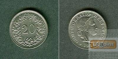 SCHWEIZ 20 Rappen 1955 B  f.stgl.!