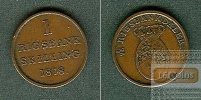 DÄNEMARK 1 Skilling 1818  ss-vz