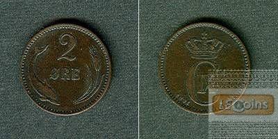 DÄNEMARK 2 Öre 1891 CS  ss-vz