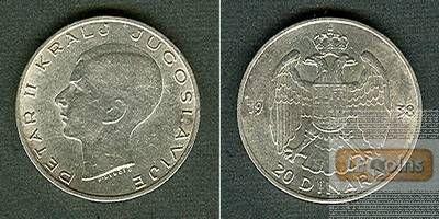 JUGOSLAWIEN 20 Dinara 1938  vz/f.stgl.