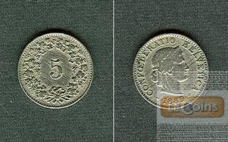 SCHWEIZ 5 Rappen 1889 B  ss-/ss  selten