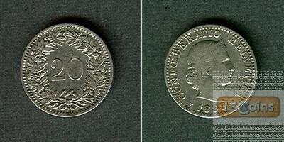 SCHWEIZ 20 Rappen 1898 B  ss+/ss