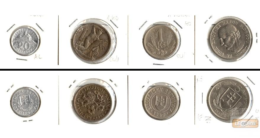 Lot:  SLOWAKEI 4x Münzen Halierov + Korun  [1922-1943]