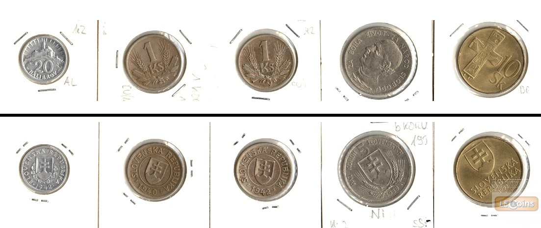 Lot:  SLOWAKEI 5x Münzen Halierov + Korun  [1939-1993]