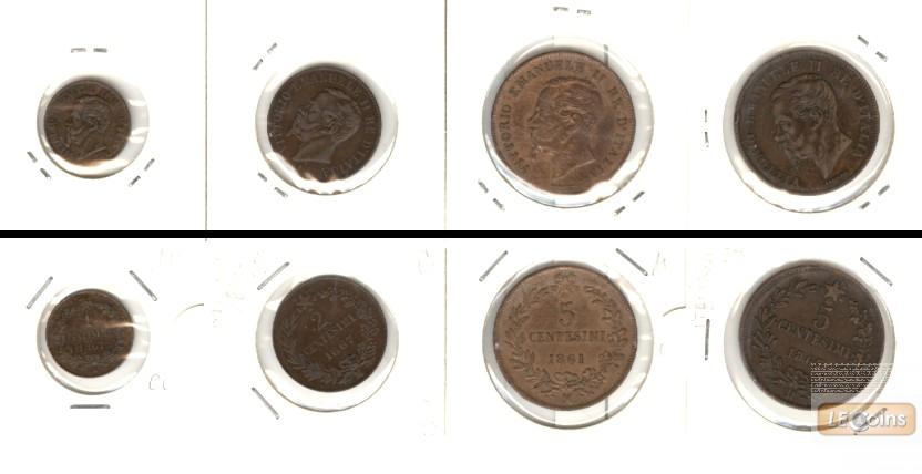 Lot:  ITALIEN 4x Münzen 1 2 5 Centesimi  [1861-1867]