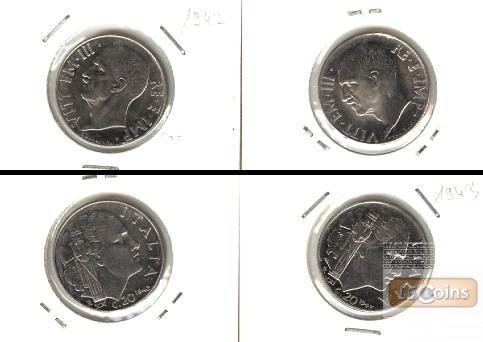 Lot:  ITALIEN 2x Münzen 20 Centesimi  [1942-1943]