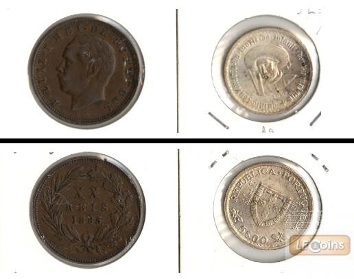 Lot:  PORTUGAL 2x Münzen  20 Reis + 5 Escudos  [1885-1960]