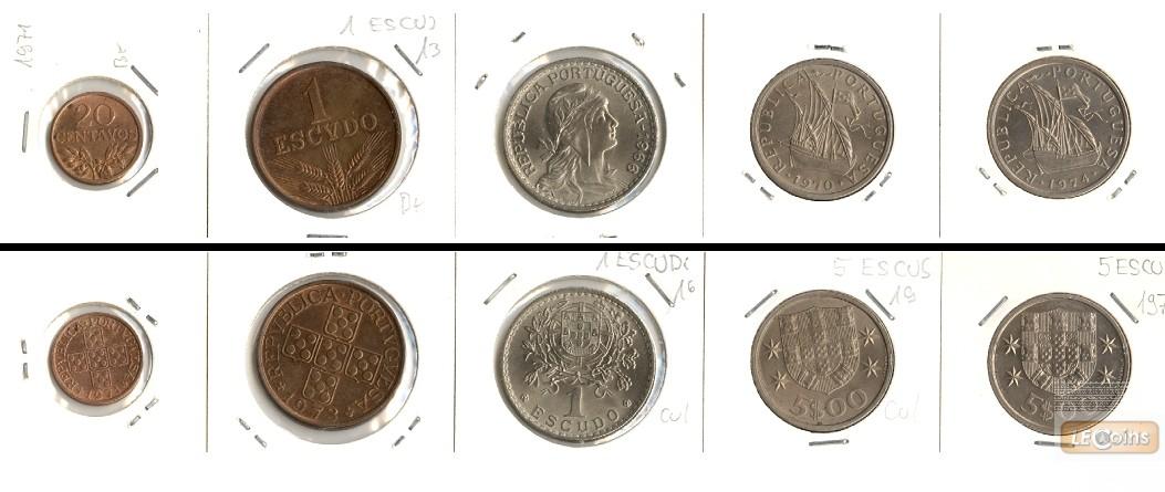 Lot:  PORTUGAL 5x Münzen  20 Cent. - 5,00 Escudos  [1966-1974]