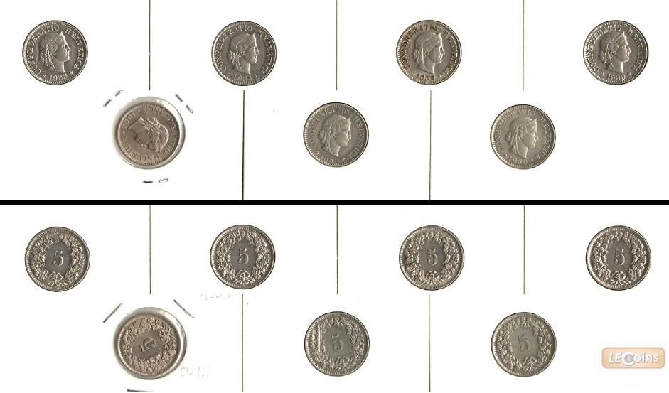 Lot:  SCHWEIZ 7x Münzen  5 Rappen  [1933-1959]