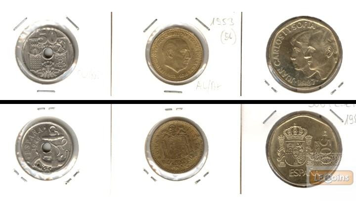 Lot:  SPANIEN 3x Münzen  0,50 1 500 Pesetas  [1953-1987]