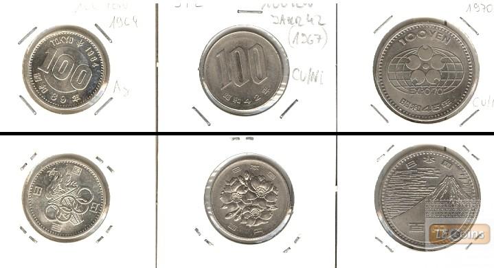 Lot:  JAPAN 3x Münzen  100 Yen  [1964-1970]