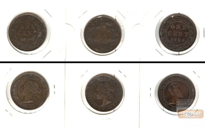 Lot:  CANADA / KANADA 3x Münzen  1 Cent  [1900-1904]