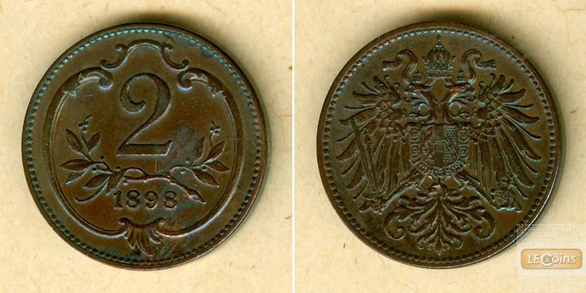 Österreich Kaiserreich 2 Heller 1898  vz/vz-stgl.  selten