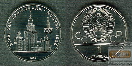 RUSSLAND / UdSSR 1 Rubel 1979 Olympia 1980  ST (aus PP)