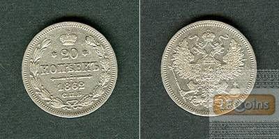 Russland 20 Kopeken 1862 SPB  ss+