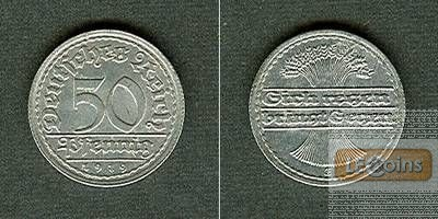 DEUTSCHES REICH 50 Pfennig 1919 E (J.301)  vz+/vz  selten