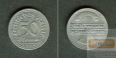 DEUTSCHES REICH 50 Pfennig 1919 E (J.301)  vz  selten