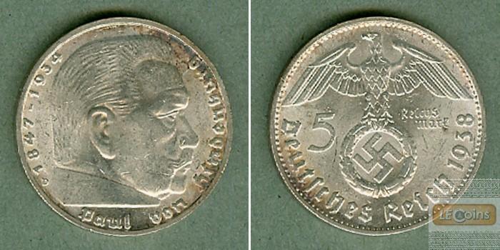 DEUTSCHES REICH 5 Reichsmark 1938 D (J.367)  vz+