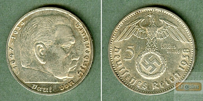 DEUTSCHES REICH 5 Reichsmark 1938 F (J.367)  ss-vz