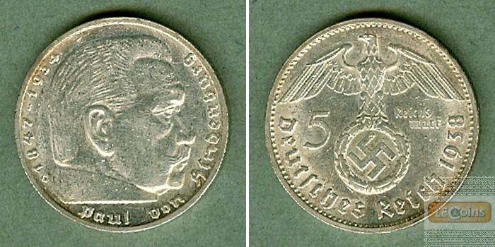 DEUTSCHES REICH 5 Reichsmark 1938 G (J.367)  vz