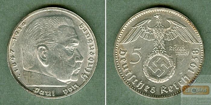 DEUTSCHES REICH 5 Reichsmark 1938 J (J.367)  vz