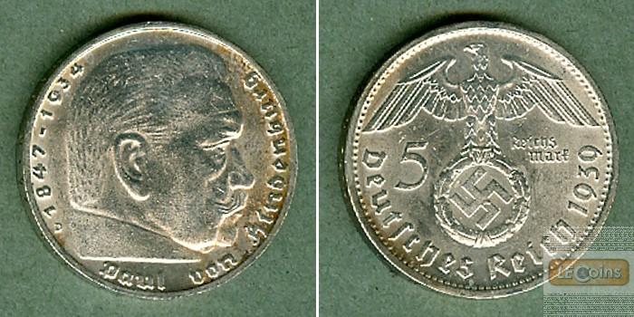 DEUTSCHES REICH 5 Reichsmark 1939 D (J.367)  vz
