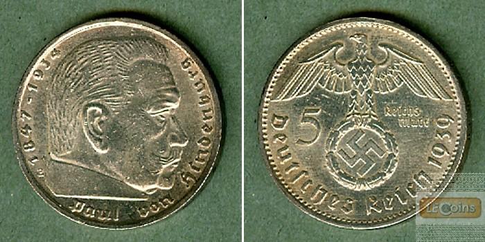 DEUTSCHES REICH 5 Reichsmark 1939 E (J.367)  vz-st  selten