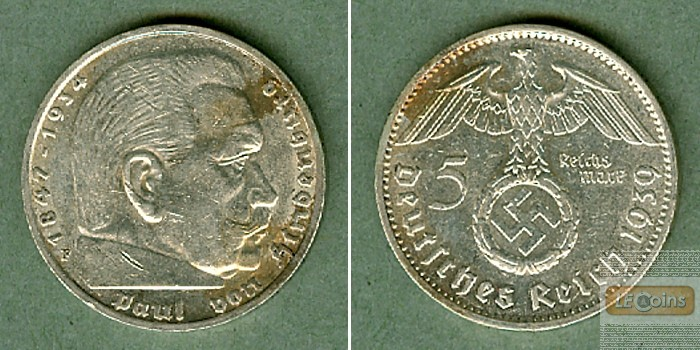 DEUTSCHES REICH 5 Reichsmark 1939 F (J.367)  vz
