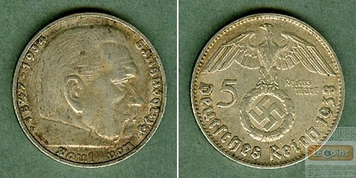 DEUTSCHES REICH 5 Reichsmark 1938 D (J.367)  ss