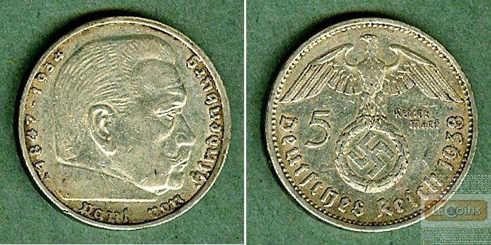 DEUTSCHES REICH 5 Reichsmark 1938 A (J.367)  ss-vz