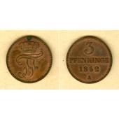 Mecklenburg Schwerin 3 Pfenninge 1852 A  vz-st