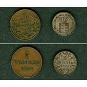 Lot: Württemberg 2x Kleinmünzen  1/2 + 1 Kreuzer  ss+  [1854-1860]