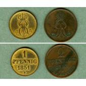 Lot: Hannover 2x  1 + 2 Pfennige  ss-vz  [1851-1863]