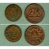 Lot: Nassau 2x 1/4 + 1 Kreuzer  f.ss  [1819-1863]