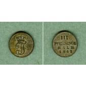 Mecklenburg Schwerin 3 Pfenninge 1845  vz  selten